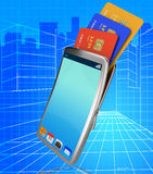 Credit Card Online Indicates World Wide Web And Bankcard Stock Photos