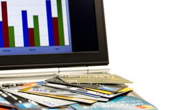 Credit cards pile and online Royalty Free Stock Photos