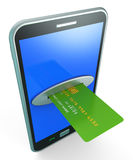 Credit Card Online Shows Retail Sales And Web Royalty Free Stock Photography