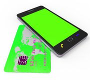 Credit Card Online Shows World Wide Web And Bought Royalty Free Stock Images