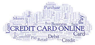 Credit Card Online word cloud. Wordcloud made with text only royalty free illustration