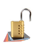 Credit card with open padlock Stock Photography