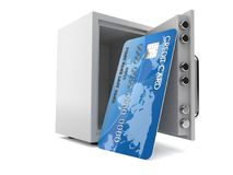 Credit card with open safe. Isolated on white background. 3d illustration Stock Photos