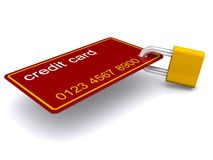 Credit card and padlock Royalty Free Stock Images