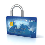 Credit card padlock. 3d concept Royalty Free Stock Photos