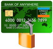 Credit card with padlock royalty free illustration