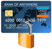 Credit card with padlock blue Royalty Free Stock Images