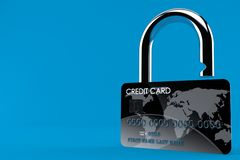Credit card padlock concept. Isolated on blue background. 3d illustration vector illustration