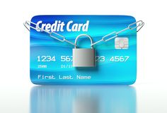Credit card and padlock, concept of security Stock Photo