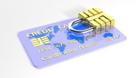 Credit card with padlock Royalty Free Stock Photo