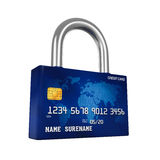 Credit Card Padlock. Isolated on white background. 3D render Stock Images