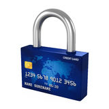 Credit Card Padlock. Isolated on white background. 3D render Royalty Free Stock Images
