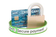 Credit card padlock, online security payment concept. 3D renderi Stock Image