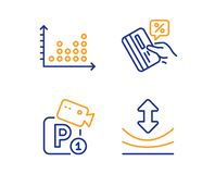 Credit card, Parking security and Dot plot icons set. Resilience sign. Vector. Credit card, Parking security and Dot plot icons simple set. Resilience sign. Loan vector illustration