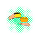 Credit card payment icon, comics style Stock Images