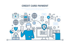 Credit card payment, secure transactions, finance, bank, banking, money transfers. Stock Photos