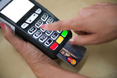 Credit card payment for shopping with machine pay business. Banking Stock Photography