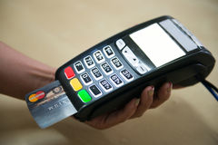 Credit card payment for shopping with machine pay business. Banking Royalty Free Stock Images
