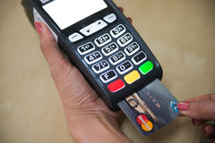 Credit card payment for shopping with machine pay business. Banking Stock Photo