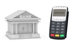 Credit Card Payment Terminal near Bank Building. 3d Rendering Royalty Free Stock Images