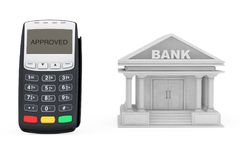 Credit Card Payment Terminal near Bank Building. 3d Rendering Stock Images