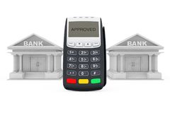 Credit Card Payment Terminal near Bank Buildings. 3d Rendering Royalty Free Stock Photo