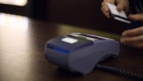 Credit card payment terminal in store. Close up. stock video