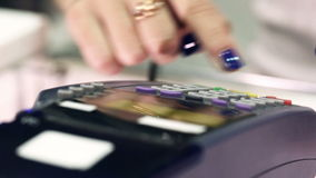 Credit card payment terminal in store. Macro lens. stock video