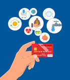 Credit card payments concept vector illustration in flat style. Financial design elements and icons. Stock Photos