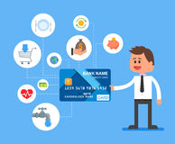 Credit card payments concept vector illustration in flat style. Financial design elements and icons. Stock Photography