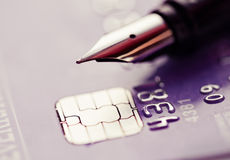 Credit card and pen Stock Photography
