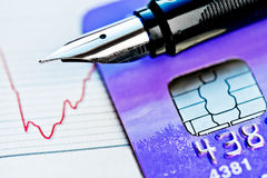 Credit card and pen Stock Image