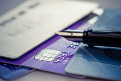 Credit card and pen Royalty Free Stock Photo