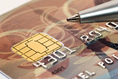 Credit card and pen macro Stock Photo