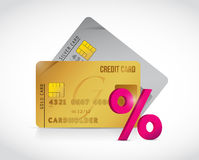 Credit card and percentage sign illustration Royalty Free Stock Photos