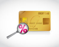 Credit card and persentage magnify Stock Photography