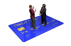 Credit card with persons in transaction.  Royalty Free Stock Images