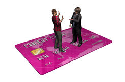 Credit card with persons in transaction.  Royalty Free Stock Photo