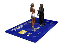 Credit card with persons in transaction.  Royalty Free Stock Photography