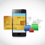 Credit card phone online shopping Stock Images