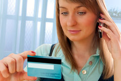 Credit card phone shopping Royalty Free Stock Images