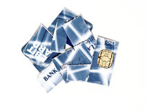 Credit card in pieces Stock Images