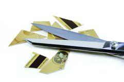 Credit Card Pieces and Scissor Royalty Free Stock Photo