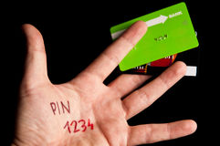 Credit card pin Stock Photography