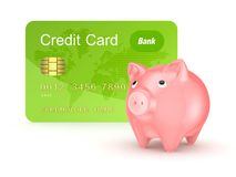 Credit card and pink piggy bank. Royalty Free Stock Image