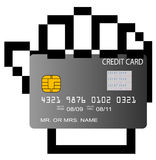 Credit card in pixelated hand. Illustration Stock Photography