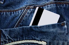 Credit card in pocket. Credit card in the back pocket of jeans Royalty Free Stock Image