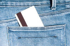 Credit card in pocket stock image