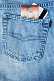 Credit card in the pocket of jeans. Royalty Free Stock Images
