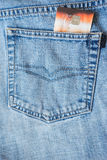 Credit card in the pocket of jeans. Stock Photo